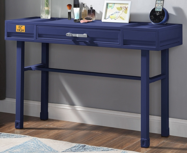 Cargo Blue Finish Metal/Wood Vanity Desk by Acme