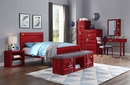 Cargo Red Finish Metal Frame/Mirror Vanity Mirror by Acme