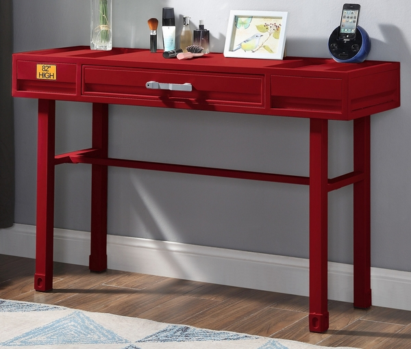 Cargo Red Finish Metal/Wood Vanity Desk by Acme