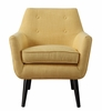 Clyde Mustard Yellow Linen Chair with Black Wood Legs by TOV Furniture