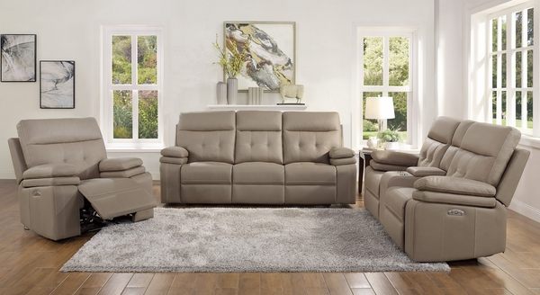 Millington Brown Faux Leather Power Recliner Loveseat by Homelegance