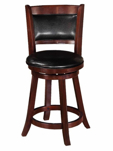 Cecil 2 Brown Faux Leather Swivel Counter Height Stools by Crown Mark