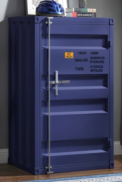 Cargo Blue Finish Metal Chest w/Single Door by Acme