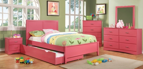 Prismo Mirror with Pink Wood Frame by Furniture of America