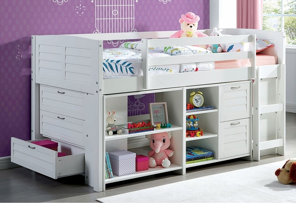 Abigail White Wood Twin Loft Bed with Storage by Furniture of America