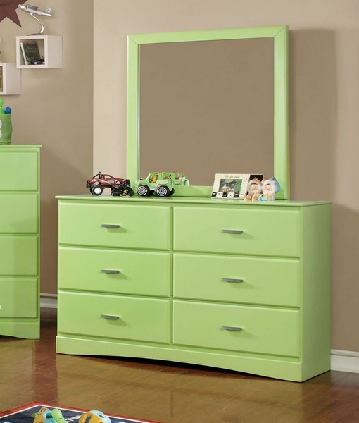 Prismo Mirror with Green Wood Frame by Furniture of America