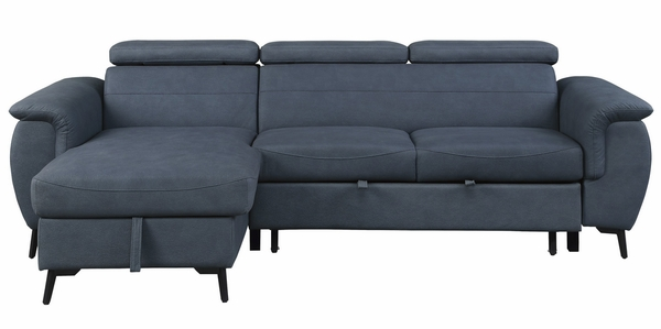 Cadence 2-Pc Blue Reversible Sectional w/ Pull-out Bed by Homelegance