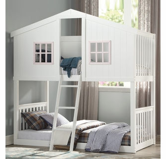 Rohan Cottage White Wood Twin Over Twin Bunk Bed By Acme