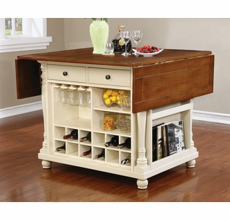 Slater Brown Buttermilk Wood Kitchen Island With Wine Rack By Coaster
