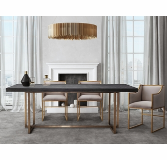 Mason 5 Pc Black Brushed Gold Dining Table Set With Cream Chairs By Tov Furniture