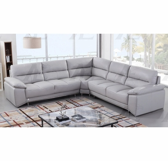 Lise 3Pc Light Grey Leather Sectional Sofa By American Eagle Furniture