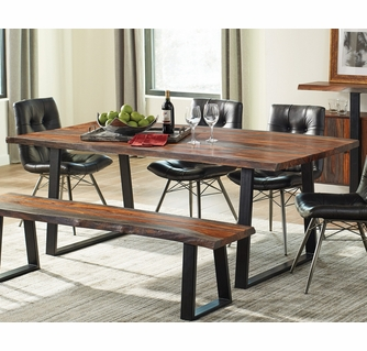Ditman Grey Sheesham Wood Matte Black Metal Dining Table By Coaster