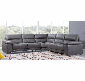 Lise 3-Pc Dark Grey Leather Sectional Sofa By American Eagle Furniture