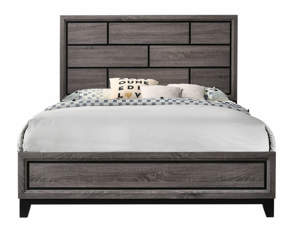 Akerson Grey Wood King Panel Bed by Crown Mark
