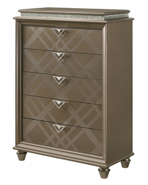 Cristal Gold Wood 5-Drawer Chest by Crown Mark