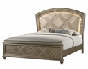 Cristal Gold Faux Leather/Wood King Bed (Oversized) by Crown Mark