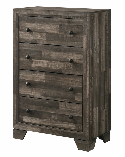 Atticus Multi Brown Wood 4-Drawer Chest by Crown Mark