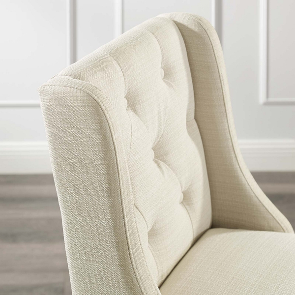 Baronet Beige Fabric/Wood Button Tufted Bar Stool by Modway