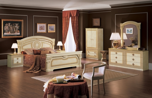 Aida Ivory & Gold Wood King Bed (Oversized) by ESF