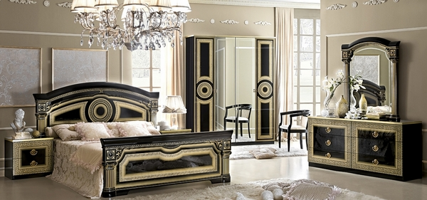 Aida Black & Gold Wood Queen Bed by ESF