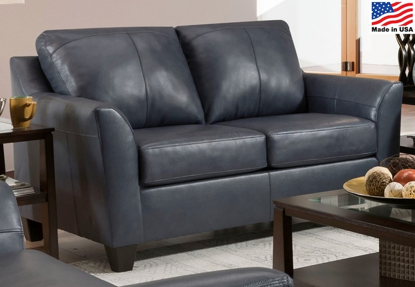 Cocus Steel Blue Top Grain Leather Match Loveseat by Acme
