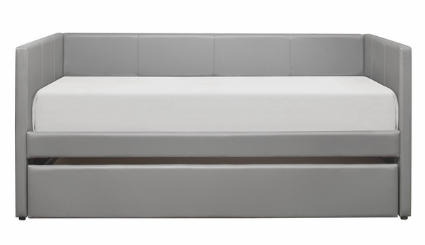 Adra Gray Faux Leather Twin Daybed with Trundle by Homelegance