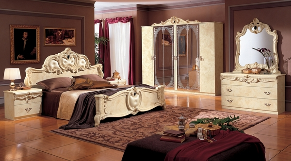 Barocco Ivory Wood Queen Bed by ESF