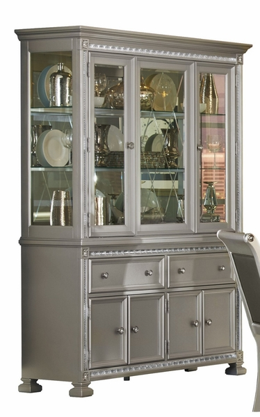 Bevelle Silver Wood Buffet & Hutch with Glass Doors by Homelegance