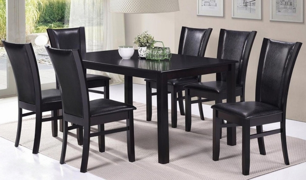 Alice 7-Pc Espresso Wood Dining Table Set by Casa Blanca Furnishings