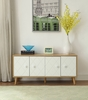 Anita Natural/White Wood Console Table with 4 Doors by Acme