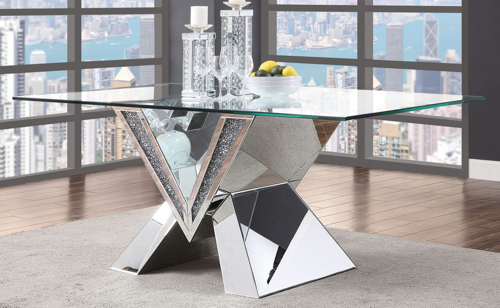 Noralie Clear Glass Mirrored Rectangular Dining Table By Acme