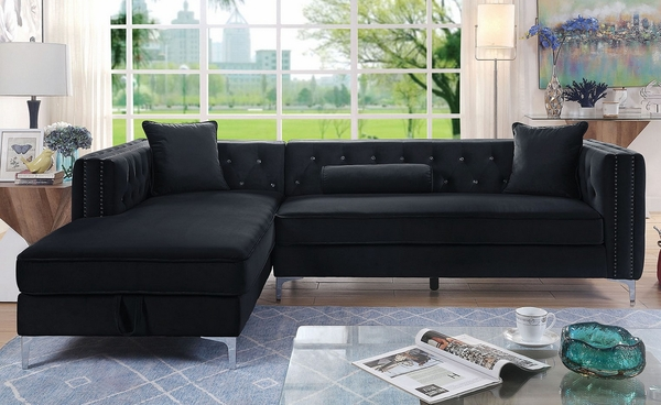 Amie 2-Pc Black Flannelette LAF Sectional Sofa by Furniture of America