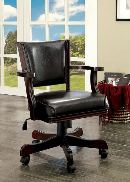 Rowan Cherry Leatherette Arm Chair by Furniture of America