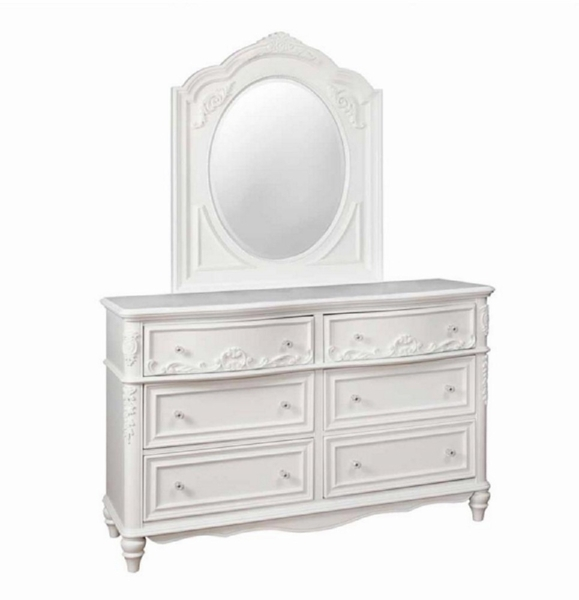 Caroline White Wood Dresser with Mirror by Coaster