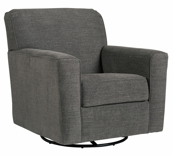 Alcona Charcoal Fabric Swivel Glider Accent Chair by Ashley