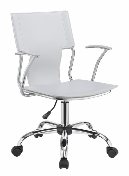Articulate White Leatherette Office Chair w/ Chrome Base by Coaster