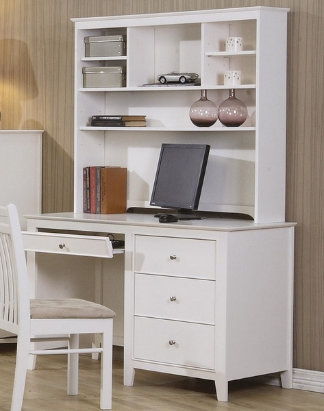 Selena White Wood Desk with Hutch by Coaster