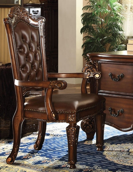 Vendome Cherry PU Leather Office Arm Chair by Acme