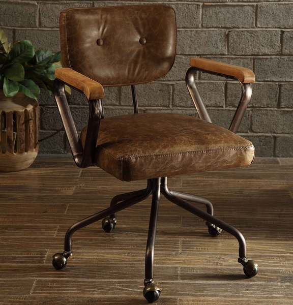 Hallie Vintage Brown Top Grain Leather Executive Office Chair by Acme