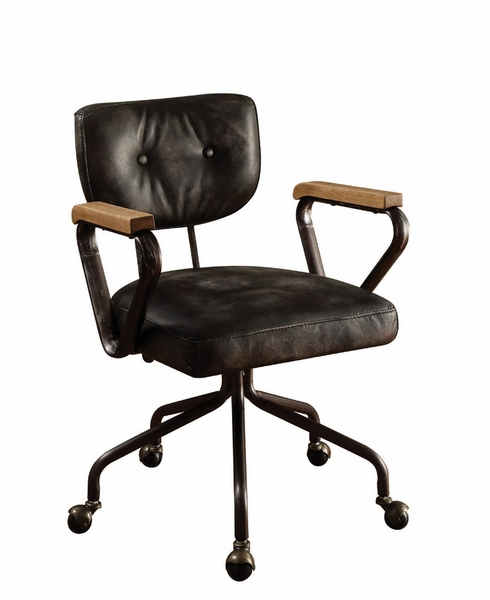 Hallie Vintage Black Top Grain Leather Executive Office Chair by Acme