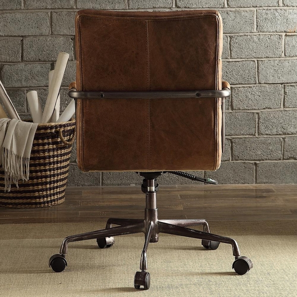 Harith Retro Brown Top Grain Leather Executive Office Chair by Acme
