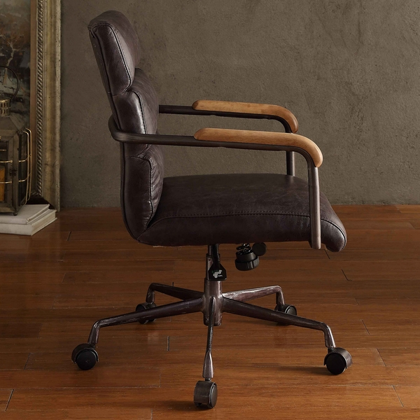 Harith Antique Ebony Top Grain Leather Executive Office Chair by Acme