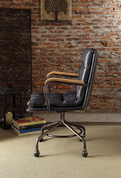 Harith Vintage Blue Top Grain Leather Executive Office Chair by Acme