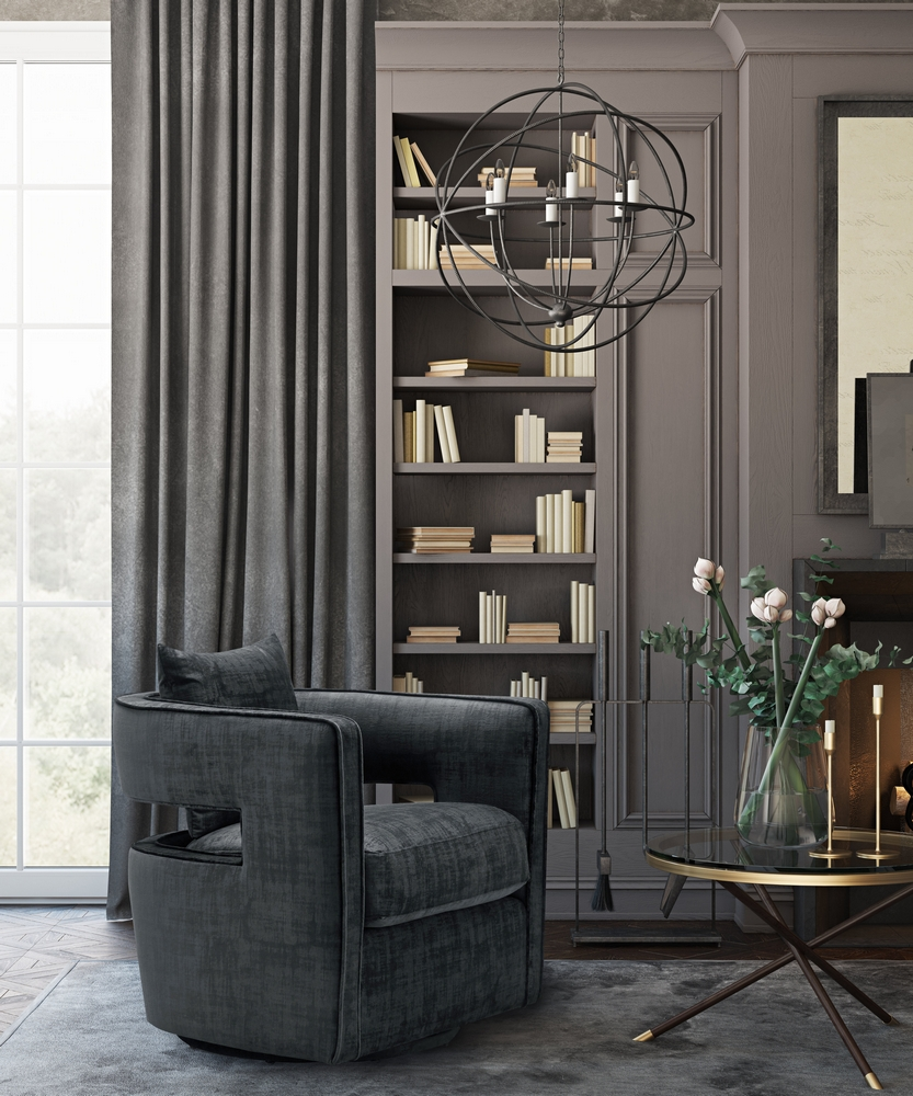 Kennedy Contemporary Black Velvet Swivel Accent Chair by ...