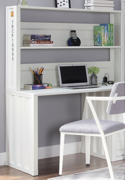 Cargo White Metal Computer Desk & Hutch by Acme