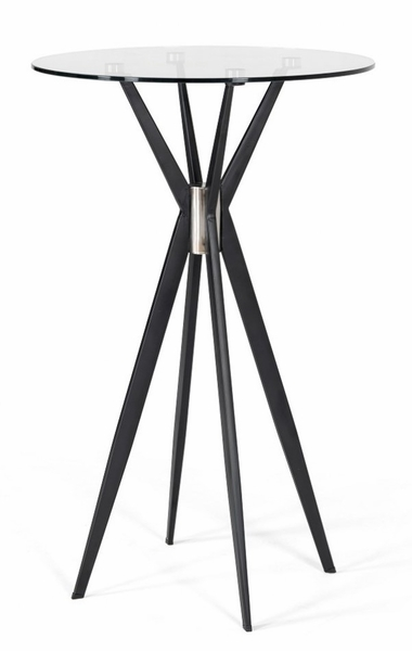 Modrest Kaitlyn Clear Glass/Black Metal Bar Table by VIG Furniture