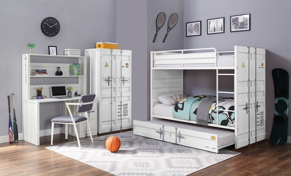 Cargo White Metal Twin over Twin Bunk Bed by Acme