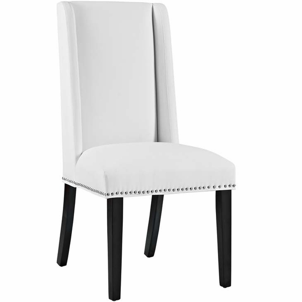 Baron 2 White Vinyl Upholstered Side Chairs by Modway