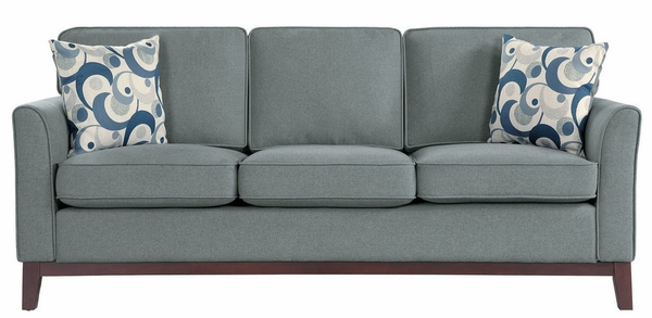 Blue Lake Gray Fabric Sofa with 2 Pillows by Homelegance