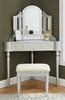 Kasey Silver Wood Vanity with Mirror & Stool by Furniture of America